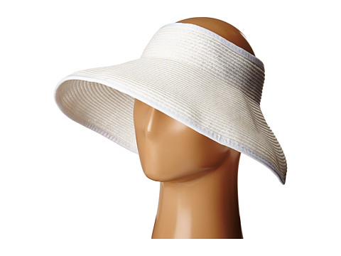 SCALA Packable Two-Tone Paper Braid Visor - White