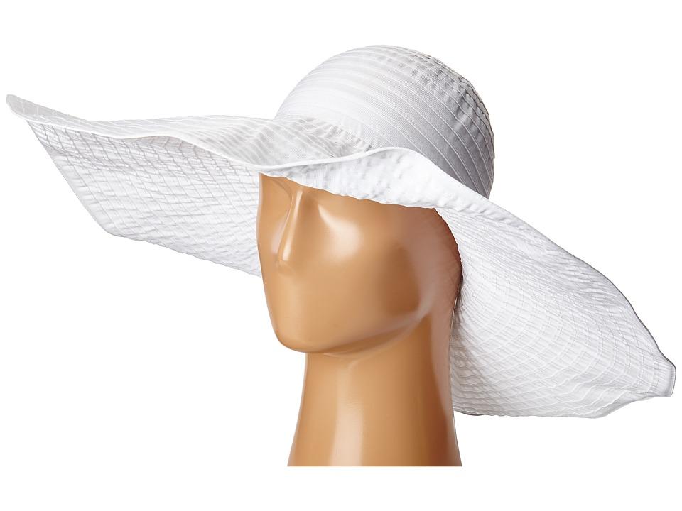 SCALA Sewn Ribbon Big Brim Pool Hat White Caps