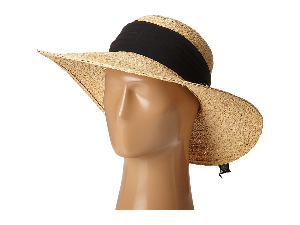 SCALA Fine Braided Raffia Big Brim with Chiffon Scarf Trim Black Caps