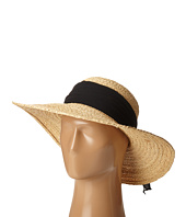 SCALA - Fine Braided Raffia Big Brim with Chiffon Scarf Trim