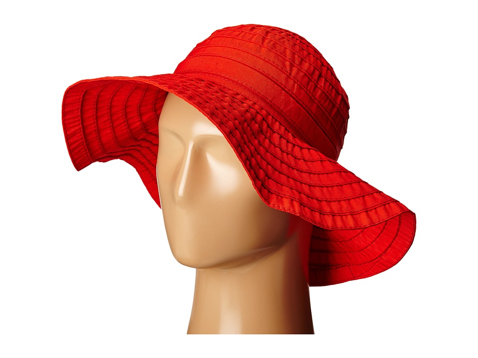 SCALA Crushable Big Brim Ribbon Sun Hat Poppy Caps