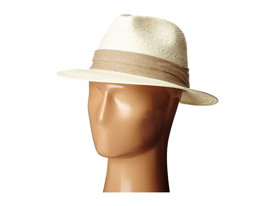 SCALA Fancy Toyo Fedora with Pleat Cotton Trim Tan Caps