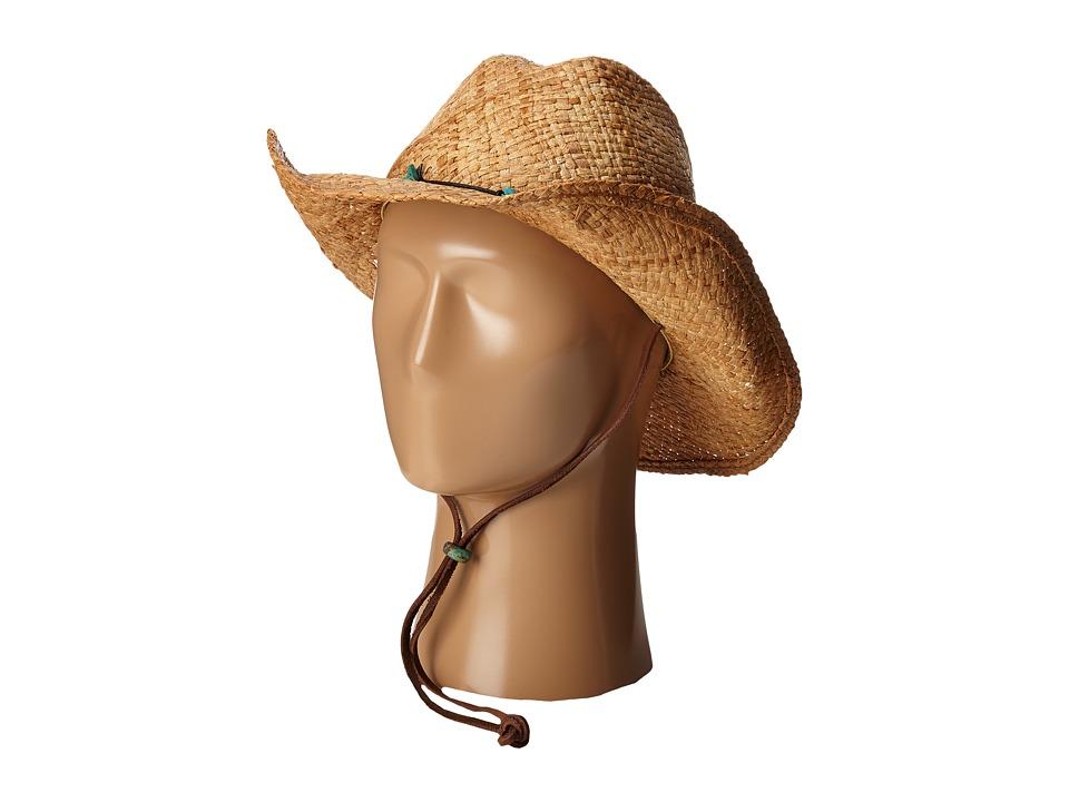 SCALA Raffia Western with Turquoise Trim and Chin Cord Tea Caps