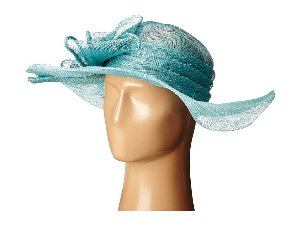 Edwardian Style Hats, Titanic Hats, Derby Hats SCALA - Sinamay with Large Bow Aqua Headband $44.99 AT vintagedancer.com