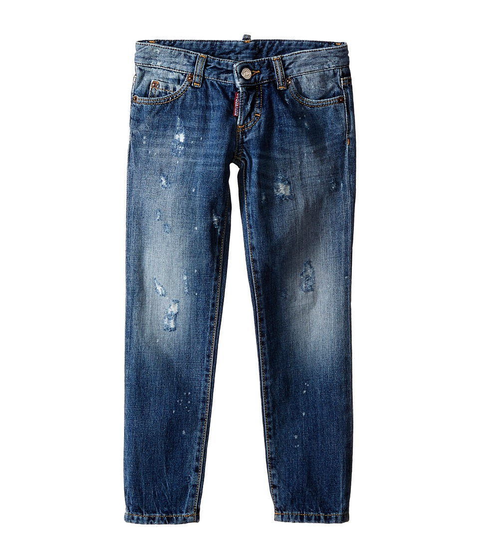 Dsquared2 Kids Pat Jeans w/ Bleached Spots Little Kids/Big Kids Blue Denim Boys Jeans