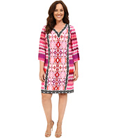 London Times - Plus Size Chevron Ikat Jersey Shift Dress