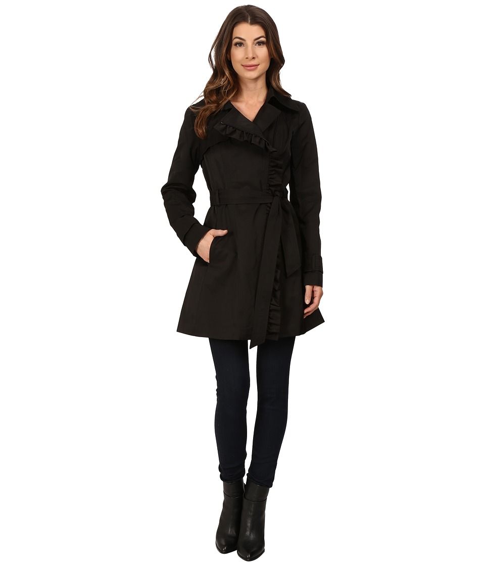 Jessica Simpson Belted Ruffle Trench Black Womens Coat