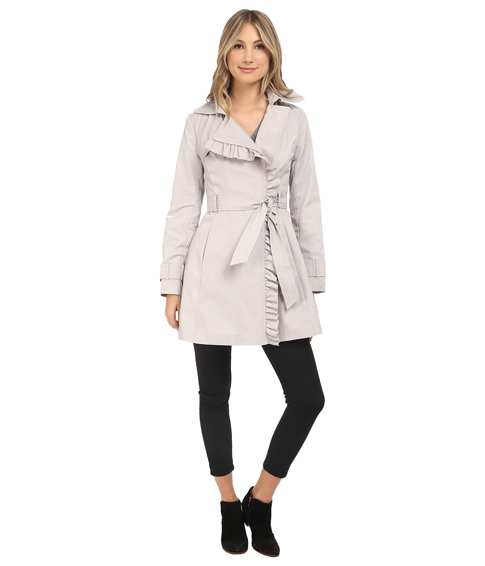 Jessica Simpson Belted Ruffle Trench Silver Womens Coat