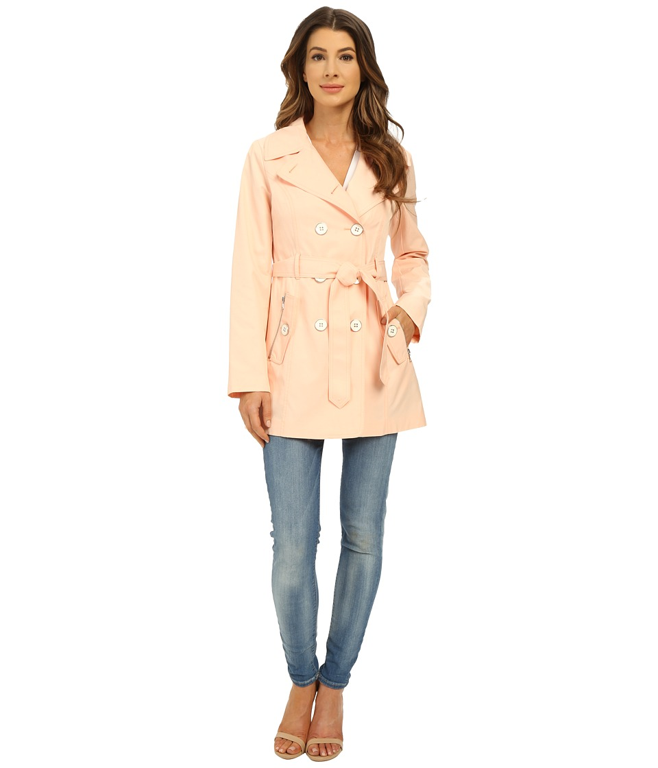 Jessica Simpson Double Breasted Belted Trench Blush Womens Coat