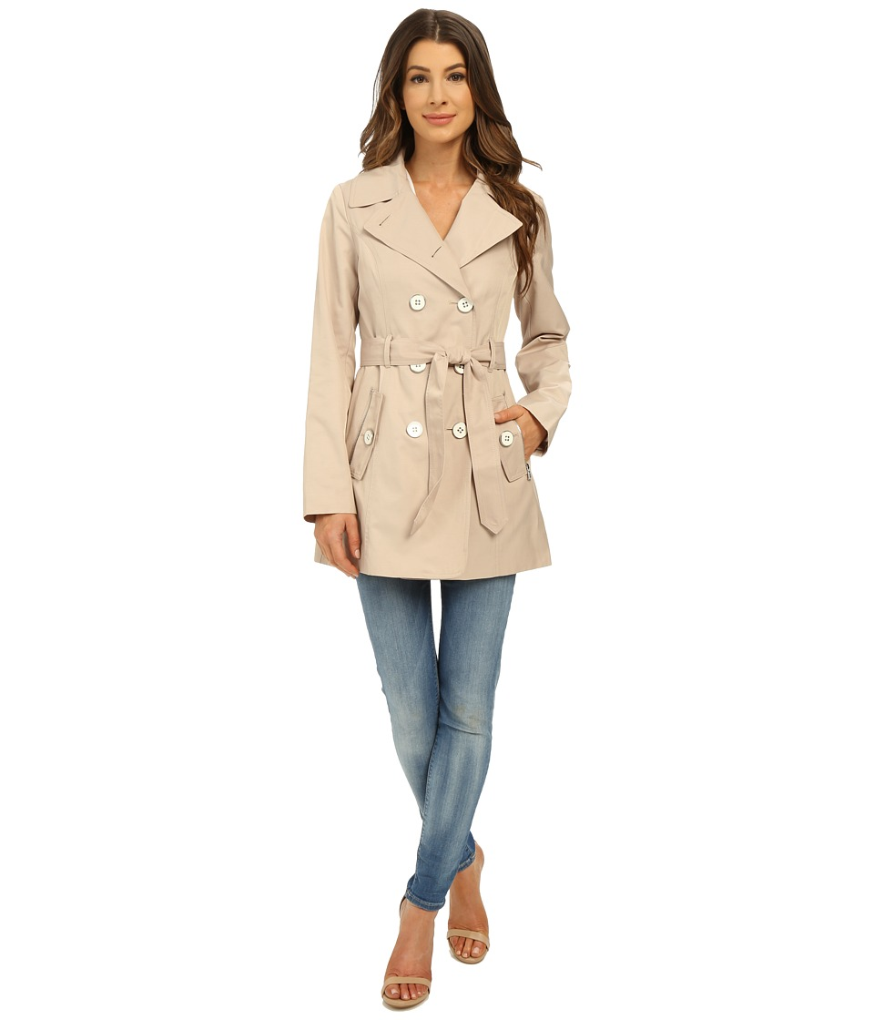 Jessica Simpson Double Breasted Belted Trench Stone Womens Coat