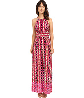 London Times - Ikat Stripe Halter Maxi Dress