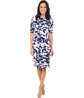 London Times - Extended Short Sleeve Printed Sheath Dress
