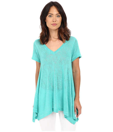 Nally & Millie - Short Sleeve V-Neck Sharkbite Tunic (Waterfall) Women's Short Sleeve Pullover