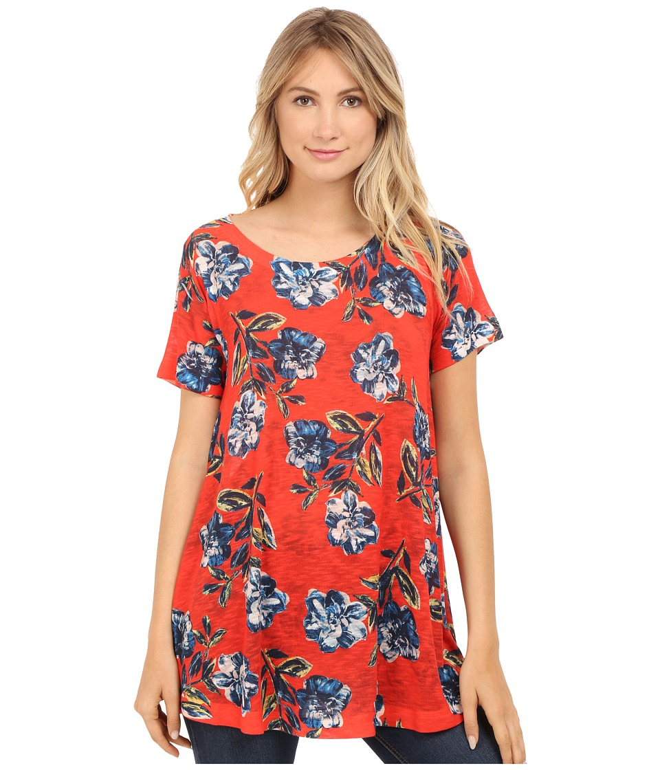 Nally amp Millie Red Floral Short Sleeve Tunic Red Multi Womens Clothing