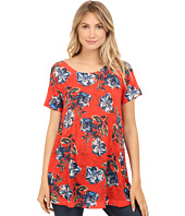 Nally & Millie - Red Floral Short Sleeve Tunic