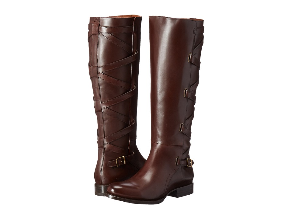 Frye Jordan Strappy Tall (Dark Brown Smooth Veg Calf) Wom...