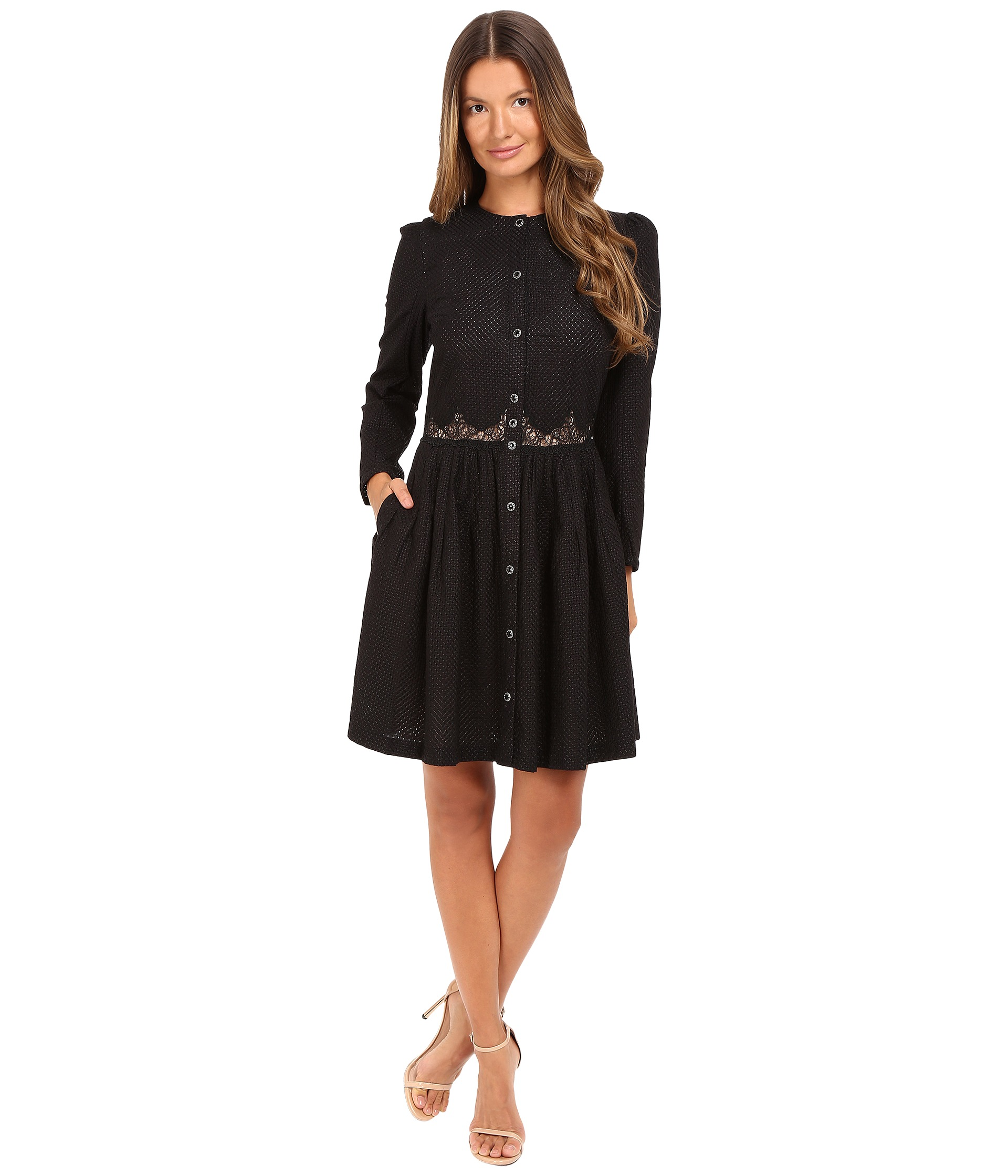 The Kooples Embroidered Cotton Long Sleeve Dress Black