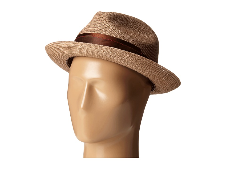CARLOS by Carlos Santana Hemp Pinch Front Fedora Chocolate Fedora Hats