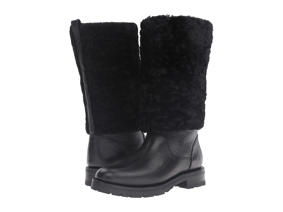 Frye Natalie Cuff Lug (Black Waterproof Waxed Pebbled Leather/Shearling) Women