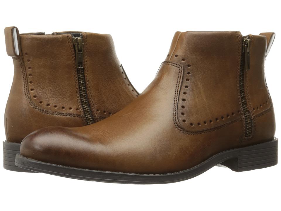 Stacy Adams Remington Plain Toe Zipper Boot (Cognac) Men
