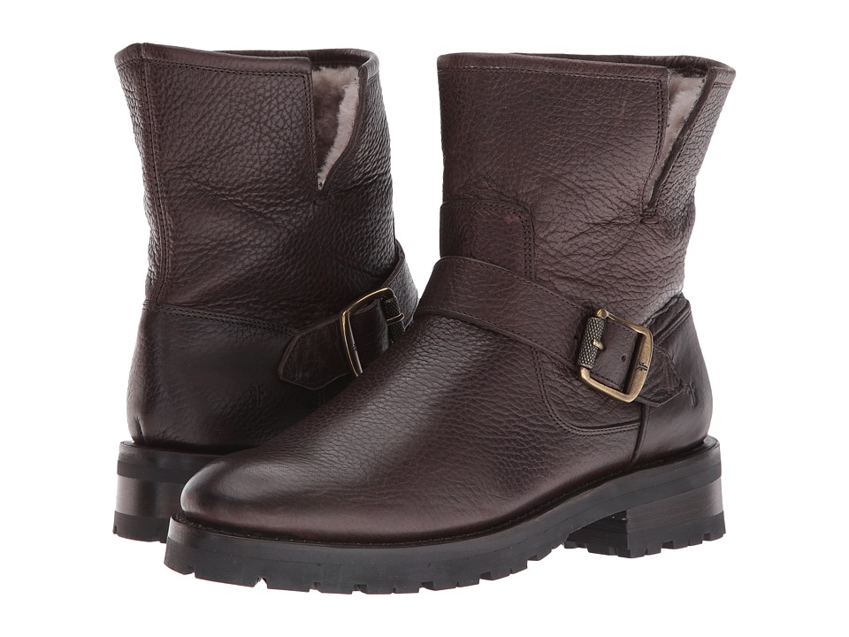 Frye Natalie Short Engineer Lug (Dark Brown Waterproof Waxed Pebbled Leather/Shearling) Women