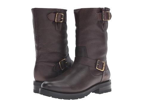 Frye Natalie Mid Engineer Lug - Dark Brown Waterproof Waxed Pebbled Leather/Shearling