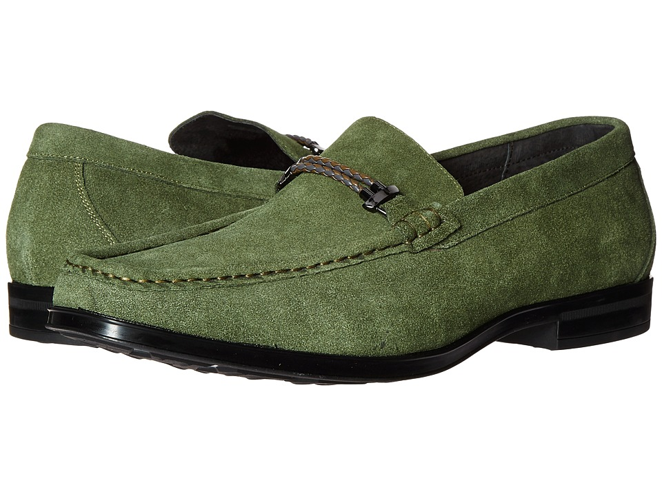 Stacy Adams - Nesbit Moc Toe Braided Strap Slip-On (Olive Suede) Men