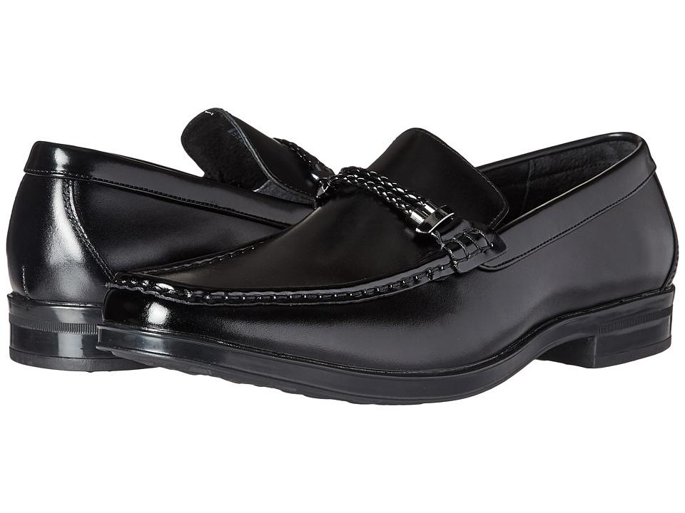 Stacy Adams Nevan Moc Toe Braided Strap Slip-On (Black) Men