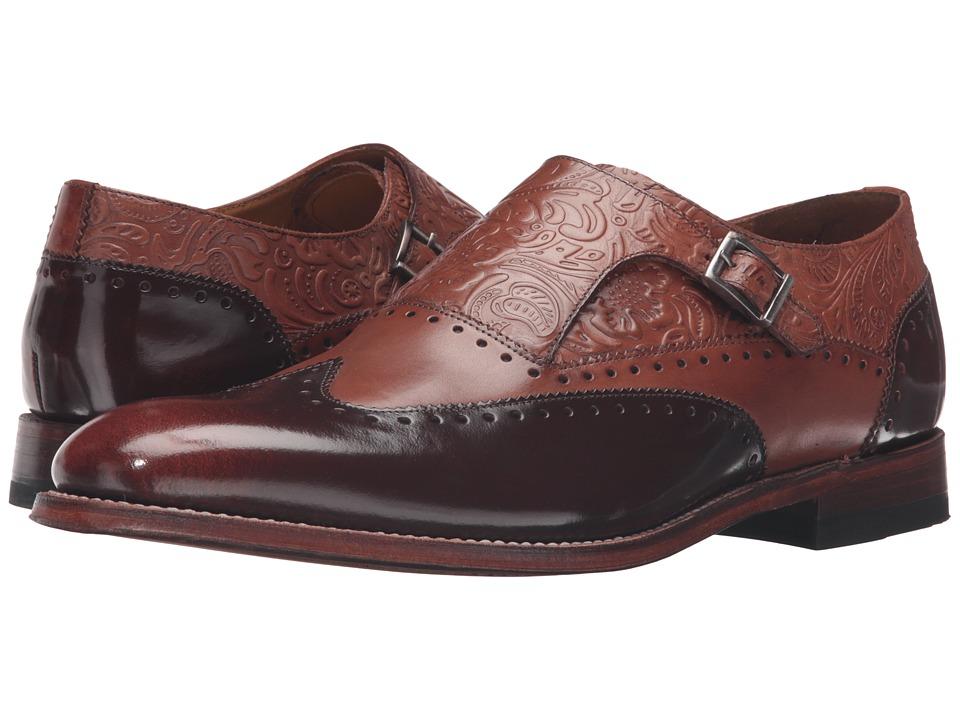 Stacy Adams - Madison II Monk Strap Wingtip (Cognac/Honey Brush-Off) Mens Monkstrap Shoes