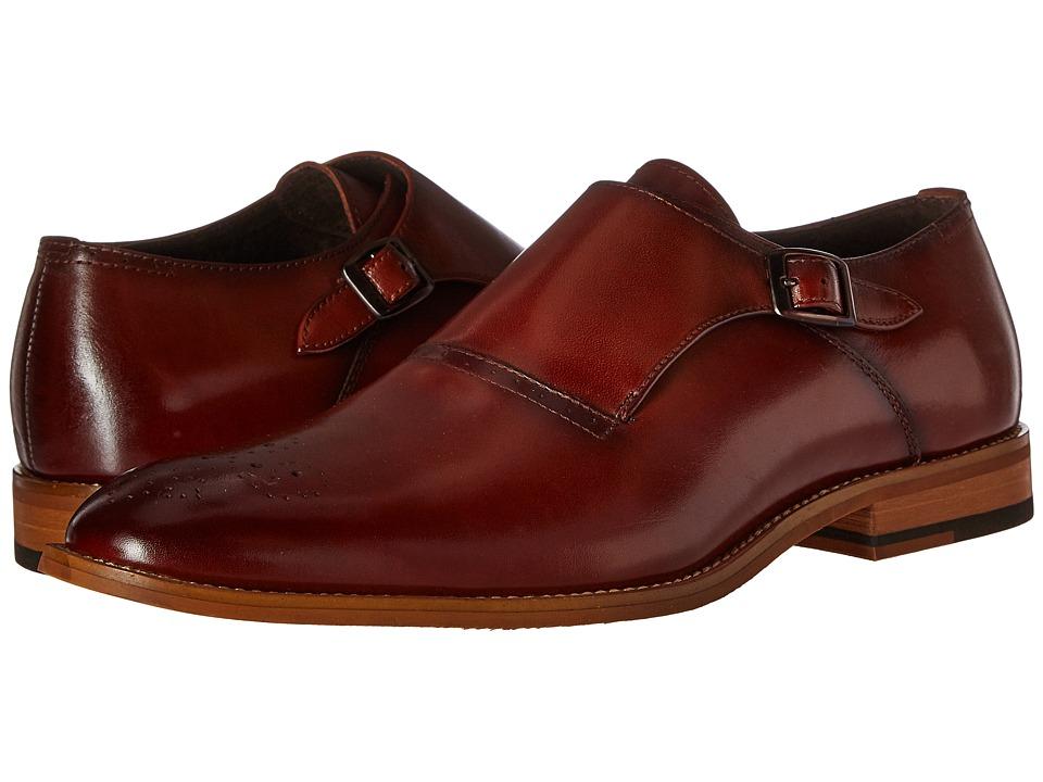 Stacy Adams Dinsmore Plain Toe Monk Strap Cognac Mens Monkstrap Shoes