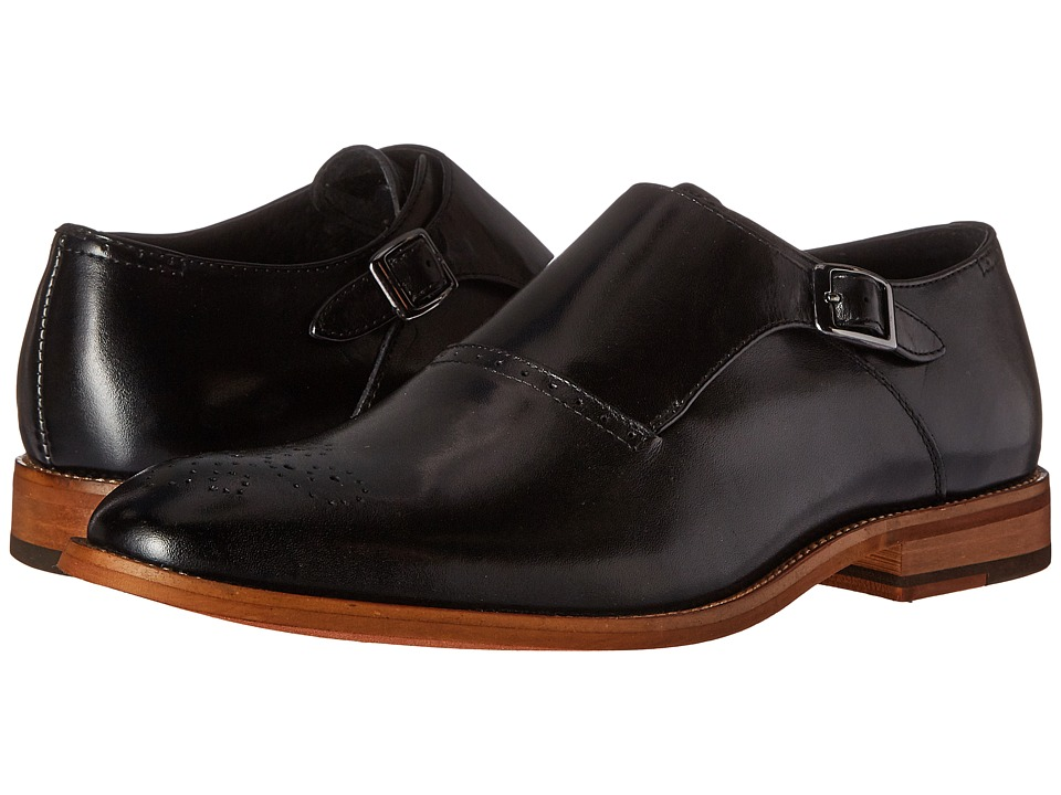 1960s Style Men's Clothing, 70s Men's Fashion Stacy Adams - Dinsmore Plain Toe Monk Strap Black Mens Monkstrap Shoes $79.95 AT vintagedancer.com