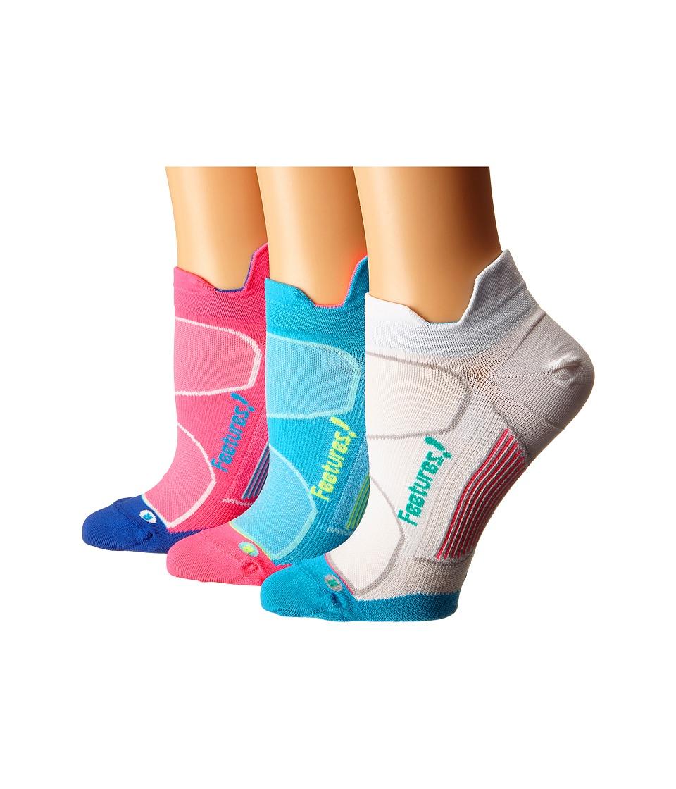 Feetures Elite Ultra Light No Show Tab 3 Pair Pack Electric Pink/Hawaiian Blue/Hawaiian Blue/Reflector/White/Atlant No Show Socks Shoes