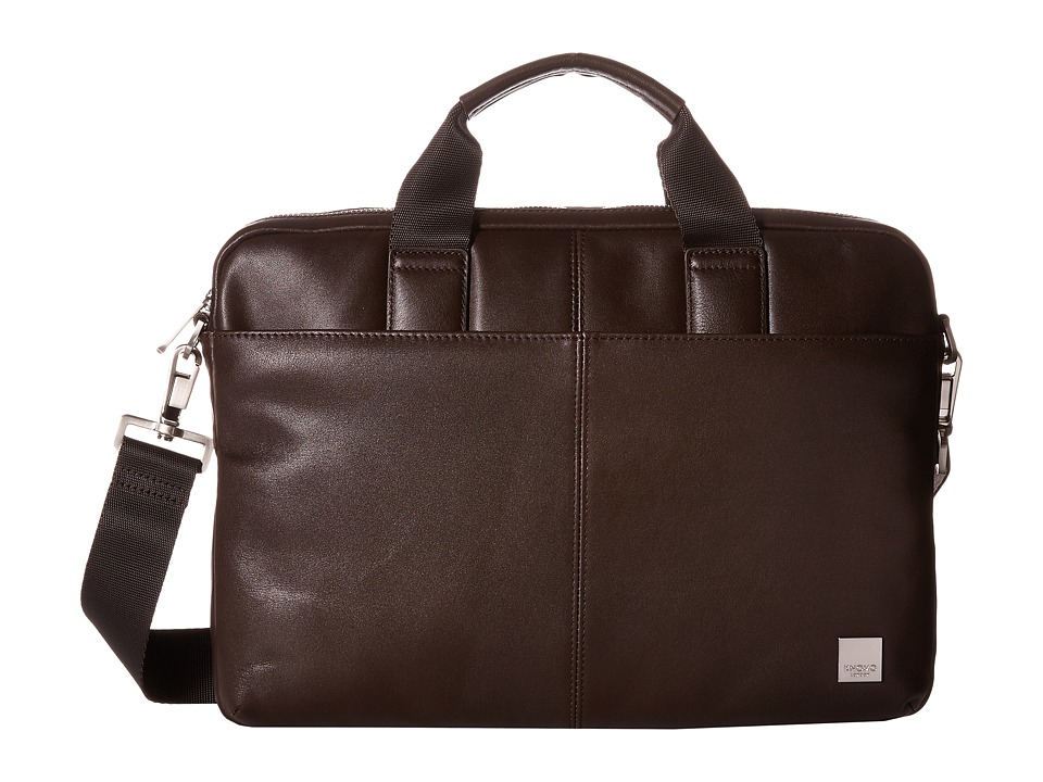 KNOMO London - Stanford Slim Laptop Briefcase (Brown) Briefcase Bags
