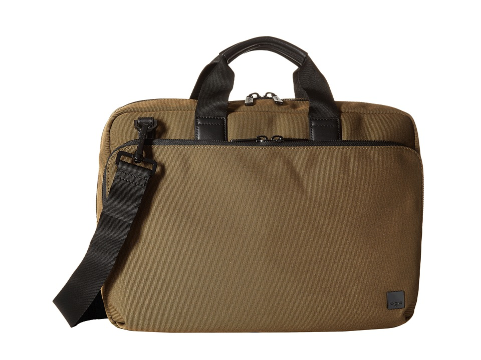 KNOMO London - Maxwell Slim Laptop Briefcase (Deep Army Green) Briefcase Bags