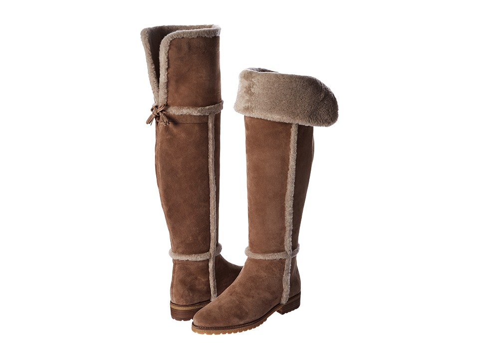 Frye Tamara Shearling Over The Knee (Taupe Water Resistant Suede/Shearling) Women