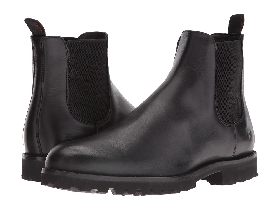 Frye Edwin Chelsea (Black Tumbled Pull Up) Men