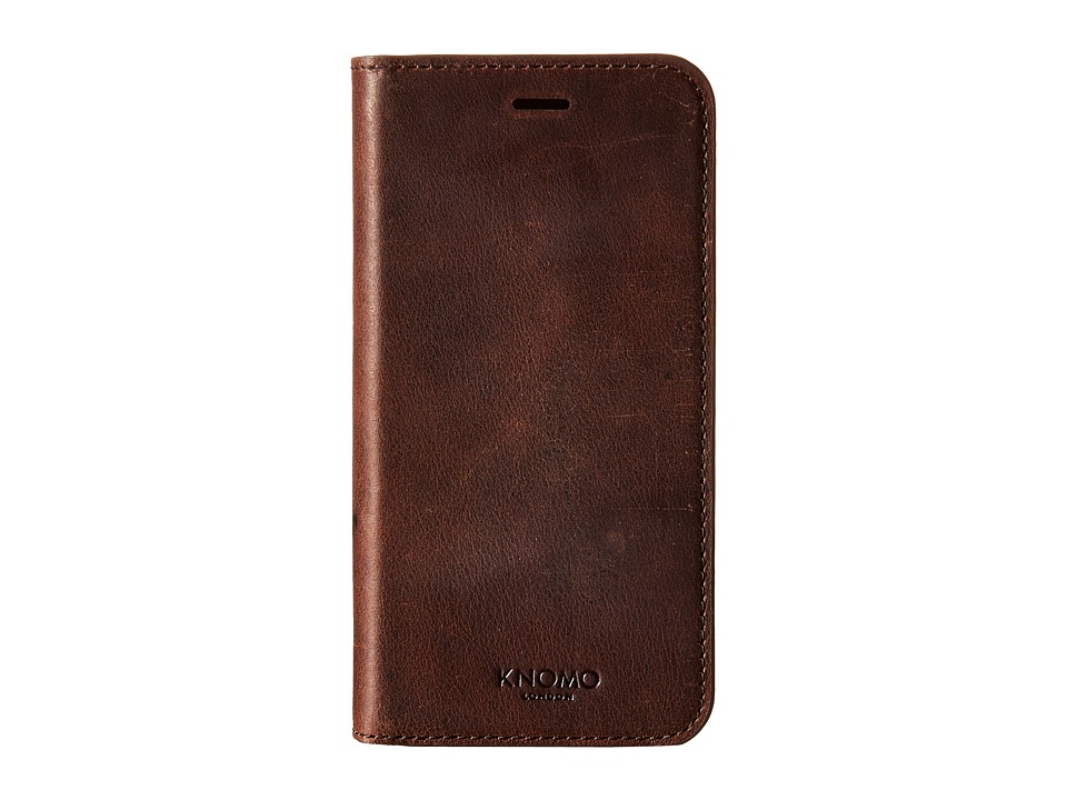 KNOMO London - Magnet Leather Folio iPhone 6/6s Case (Brown) Cell Phone Case