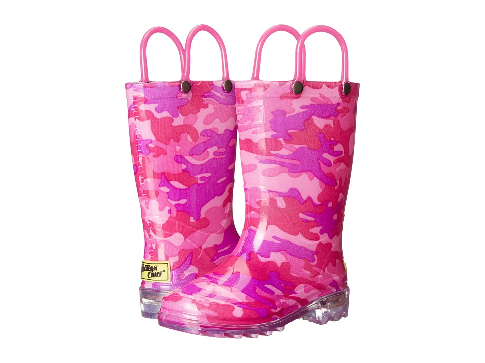 Western Chief Kids - Lighted Rain Boots (Toddler/Little Kid) (Pink Neo Camo) Girls Shoes