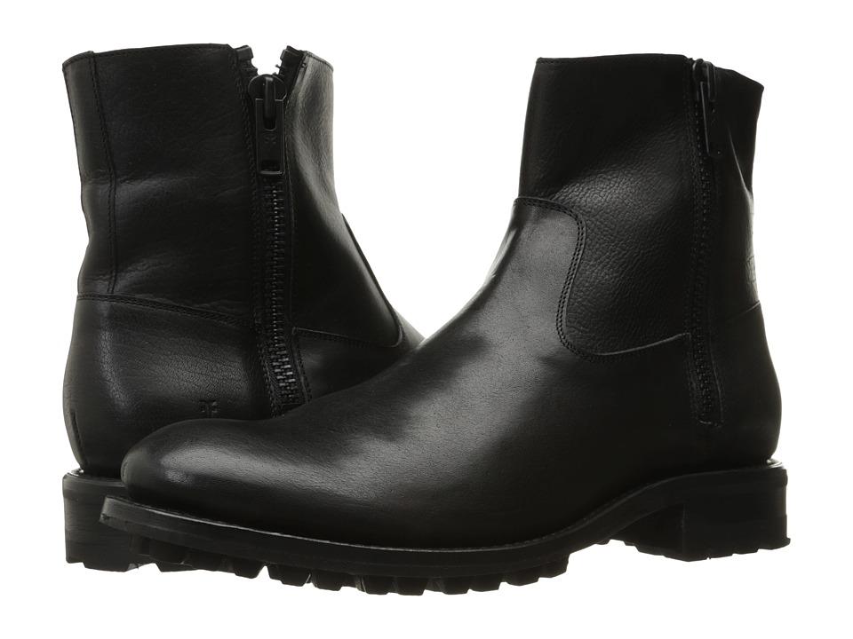 Frye - Stanton Outside Zip (Black Tumbled Full Grain) Mens Boots