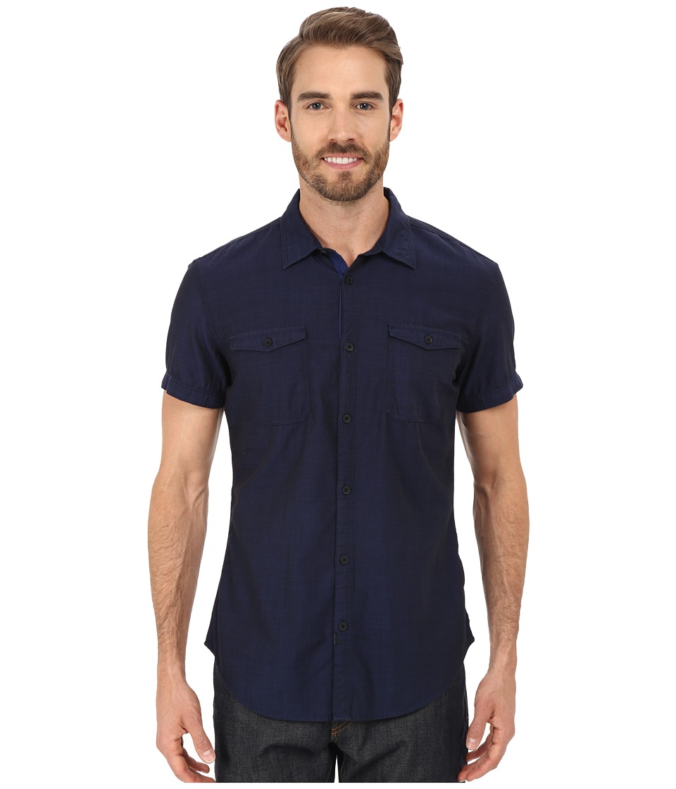Calvin Klein Jeans Short Sleeve End On End Utility Shirt Blue Print Mens Short Sleeve Button Up