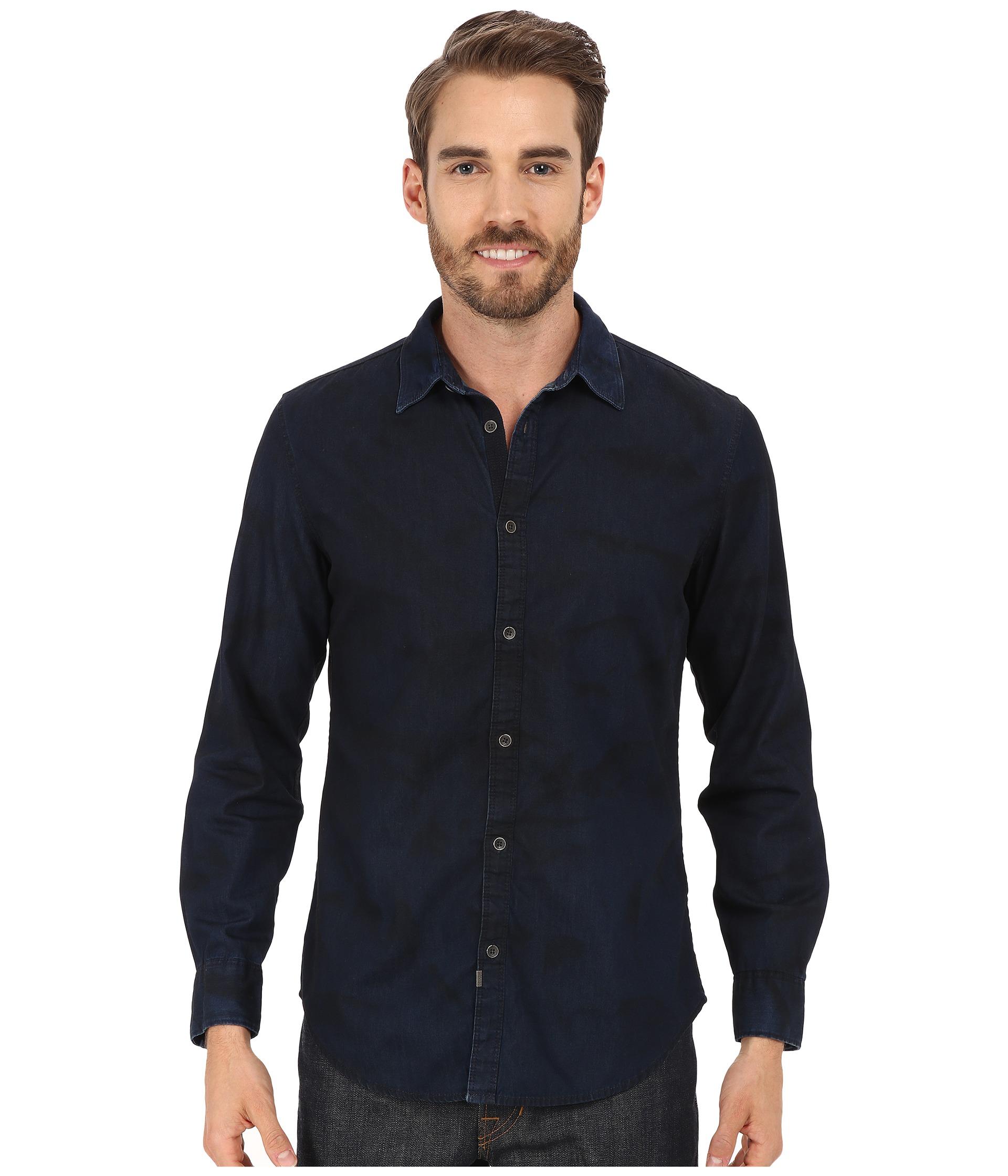 calvin klein jeans dark spray wash denim shirt indigo. Black Bedroom Furniture Sets. Home Design Ideas