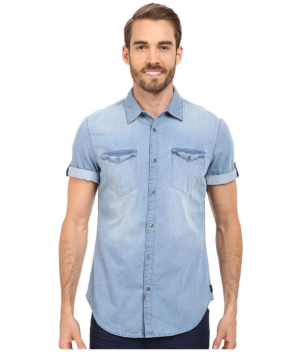 Calvin Klein Jeans Short Sleeve Shirt Mid Bleu Wash Mens Short Sleeve Button Up
