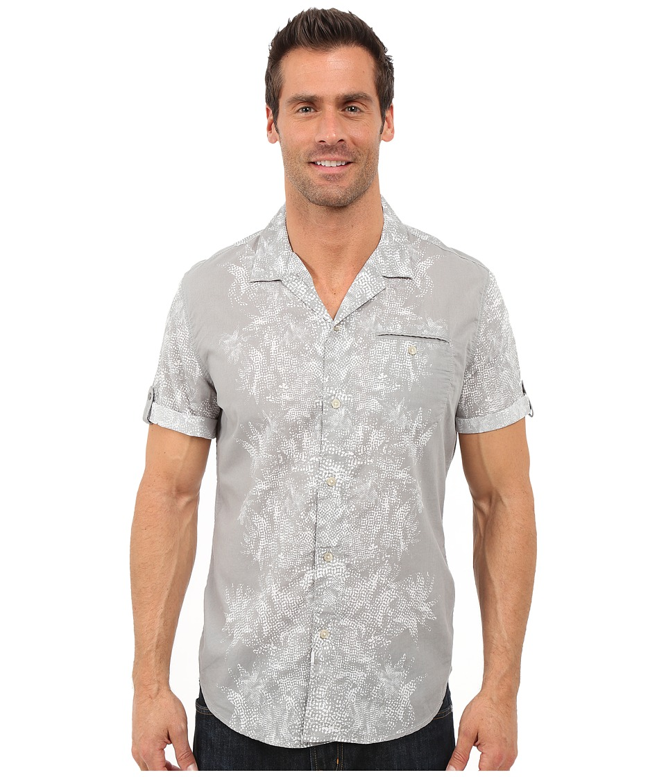 Calvin Klein Jeans Abstract Floral Camp Shirt Chrome Mens Clothing