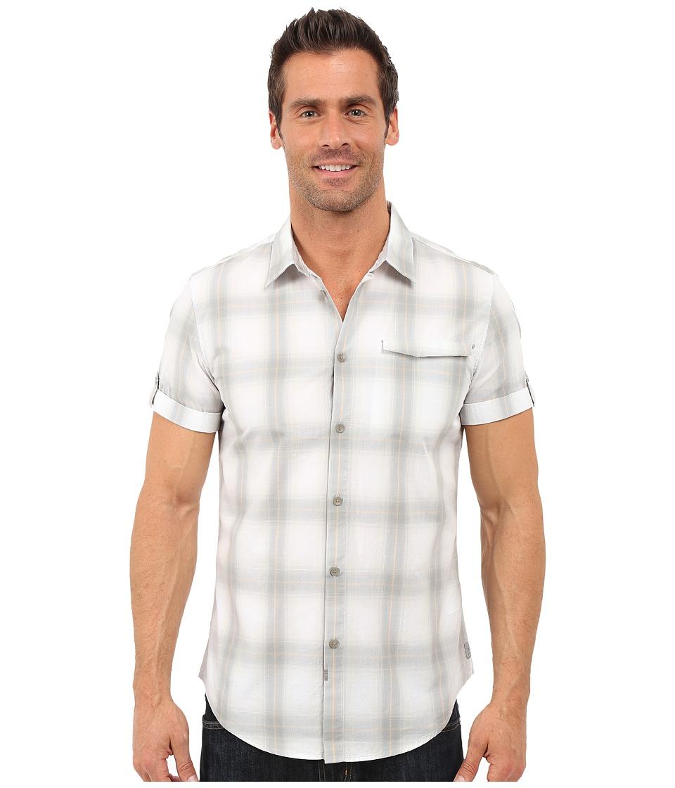 Calvin Klein Jeans Short Sleeve Ombre Plaid Shirt Glacier Grey Mens Clothing