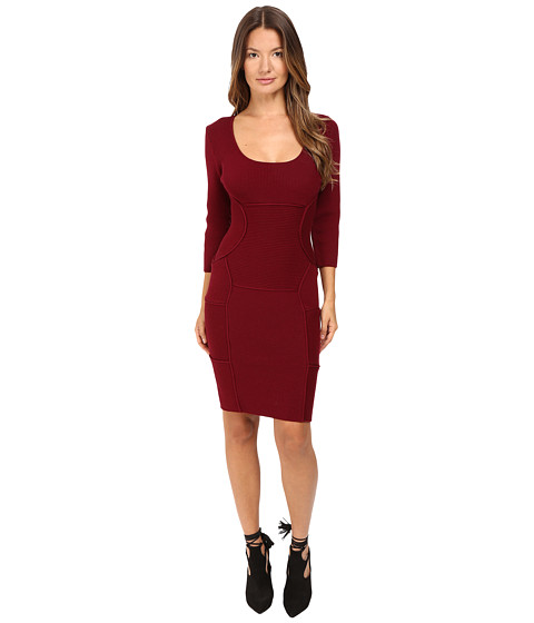 DSQUARED2 Bodycon Long Sleeve Dress - Bordeaux