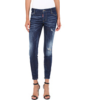 DSQUARED2 - Flat Wash Medium Waist Skinny Jeans in Blue