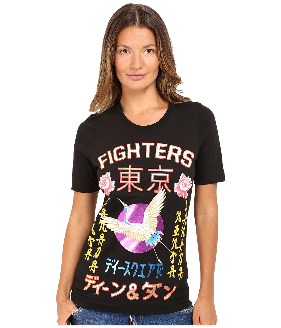 DSQUARED2 - Fighters Kanji Screen Renny Fit Tee (Black) Women