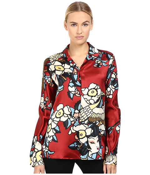 DSQUARED2 Fantasy Printed Silk Pajama Shirt - Bordeaux