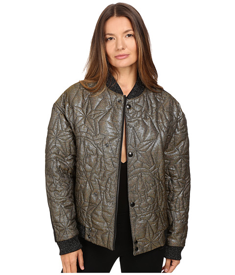 Just Cavalli Glitter Tiger Embroidered Oversized Bomber - Gold