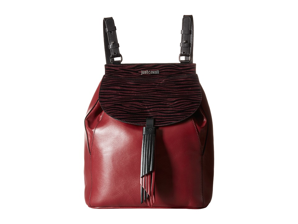 Just Cavalli - Leather/Zebra Suede Backpack (Wine) Backpack Bags